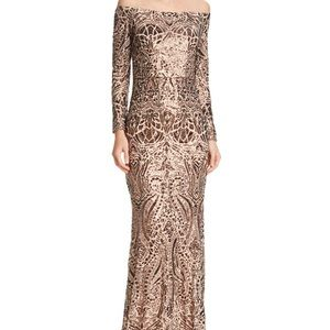 Aqua Off-the-Shoulder Sequined Gown - Size 0